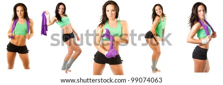 collection of beautiful fitness woman with towel after workout at  gym on white background
