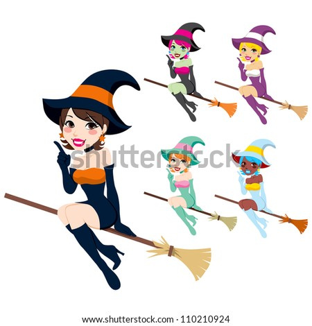 Collection of beautiful women with Halloween witch costumes in different colors