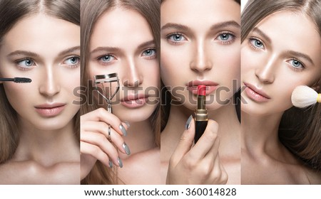 Collection of Beautiful young girl with a light natural make-up and beauty tools in hand. Picture taken in the studio on a white background.