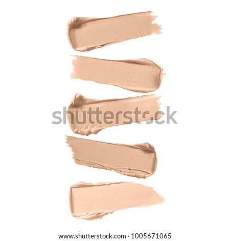 Collection of Beige Liquid Lipstick Smudge Isolated on White Background. Makeup Smear. Cosmetic Concealer. Foundation Strokes. Skin Tone Cream. Grooming Products