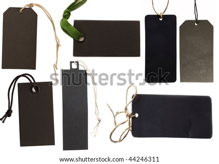 collection of black tags or address labels