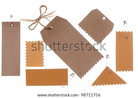 collection of blank cardboard paper labels isolated on the white background - stock photo
