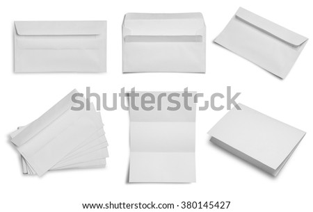 collection of blank envelope paper on white background. #380145427