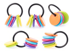 Collection of Blank Multi Color Round plastic Key Chain with Key Ring isolated on a white background