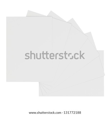 Collection of blank white sheets paper