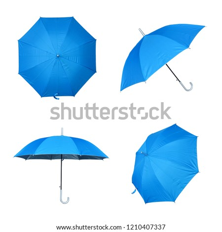 Collection of blue umbrella isolated on a white background #1210407337