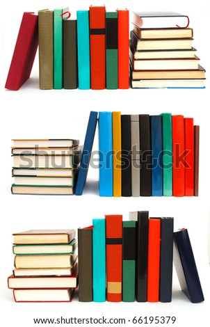 Collection of book piles on white table
