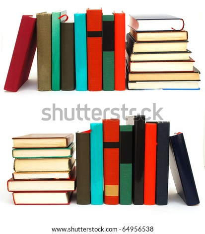 Collection of books on white table - stock photo