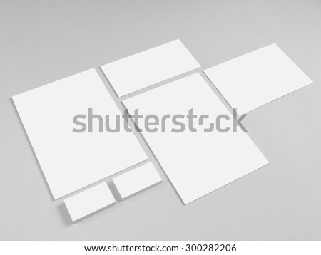 Collection of branding corporate design templates. Stationery with business cards and envelope.