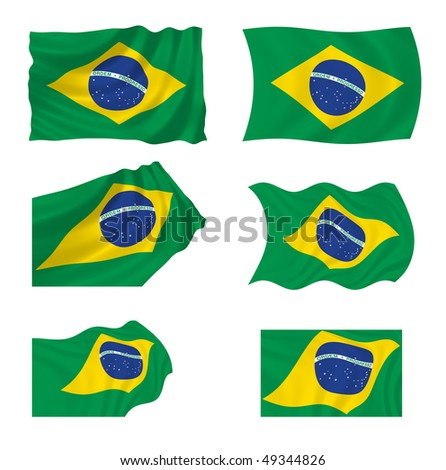 Collection of Brazilian flags, illustration