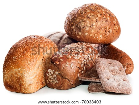 collection of bread : Loaf of rye bread soft tasty poured by sunflower seeds of a sunflower and a round loaf on a background isolated on a white background