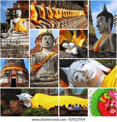Collection of Buddha statues at the temple of Wat Yai Chai Mongkol in Ayutthaya near Bangkok, Thailand. background template for design work
