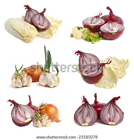Collection of bulbs of garlic and onion on white background