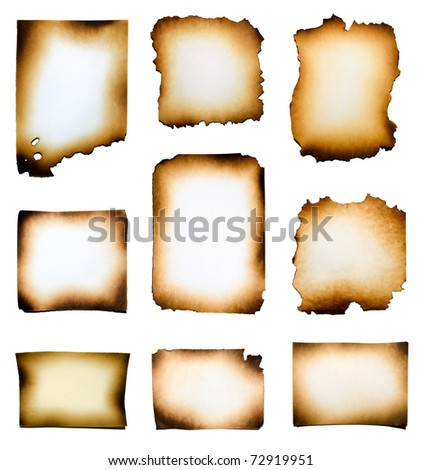 Collection of burnt papers isolated on white background