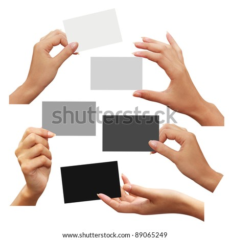 Collection of business card white, gray, and black in hand on white background