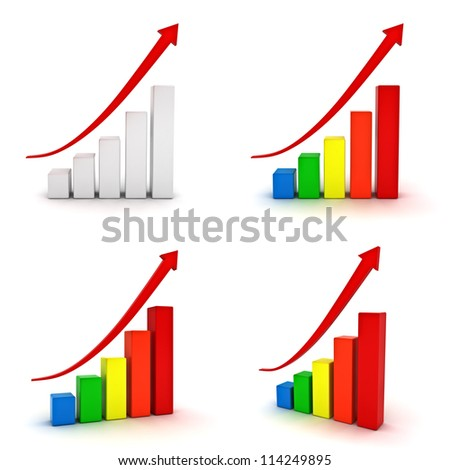 Collection of business graphs with red rising arrow isolated over white background