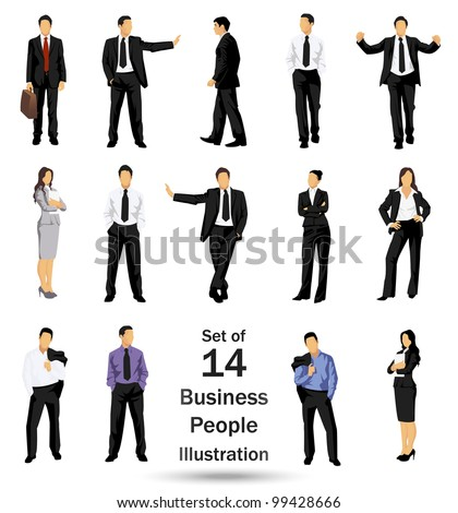 Collection of business people in different poses - JPG version of a vector illustration from my portfolio