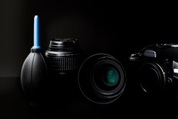 Collection of camera photographer lens on black background