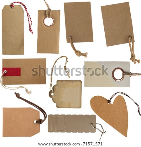 collection of cardboard corrugated paper tags or labels