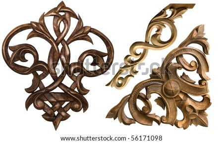 collection of carved decorative elements
