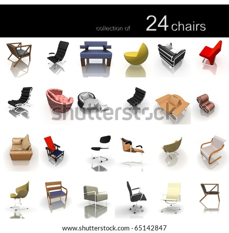 collection of 24 chairs isolated on white