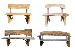 Collection of 4 chairs made of brown wood. For decorating the garden. Isolated on white background and clipping path.
