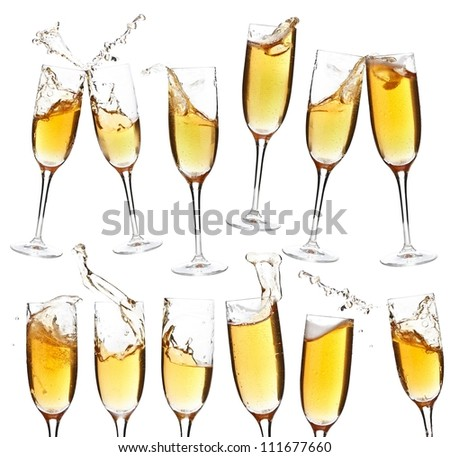 Collection of champagne glasses whit splash on white background