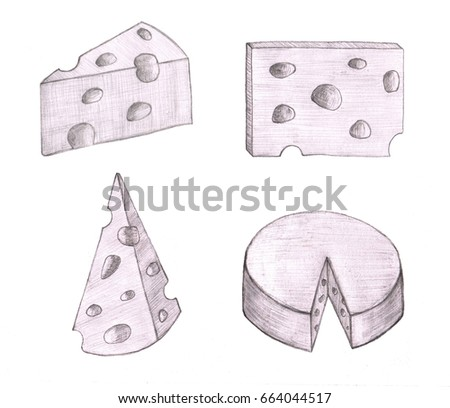 Collection of cheese in sketch style. Hand drawn clip art for original design.