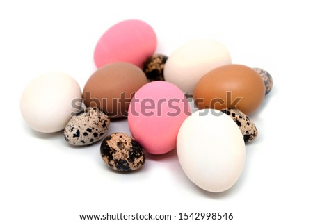 Collection of chicken eggs, duck eggs, quail eggs #1542998546