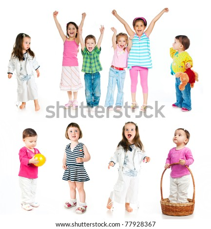 collection of children isolated on white background