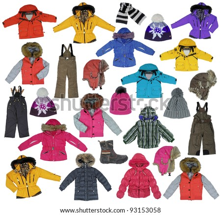 collection of children's winter clothing - stock photo