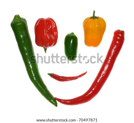 Collection of chilli peppers, isolated on white