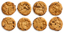 Collection of chocolate chip cookies isolated and viewed from above.
