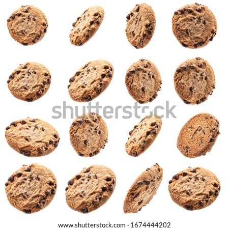Collection of chocolate chip cookies on white background