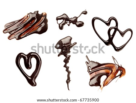 collection of chocolate syrup stains and chocolate pieces on white background. each one is shot separately