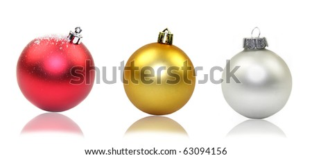 Collection of 3 Christmas balls, isolated on white background