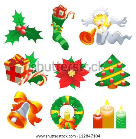 Collection of Christmas-related objects and symbols