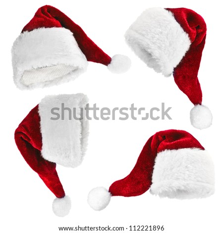Collection of Christmas Santa Claus hat isolated on white background