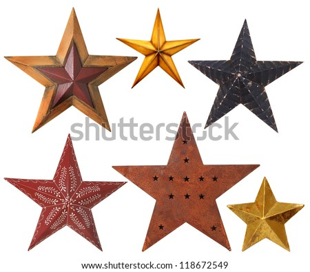 Collection of Christmas star ornaments, studio isolated on white.