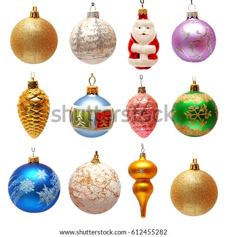 Collection of Christmas toys for the Christmas tree isolated on white background. New Year's ball, Santa Claus, pine cone. Flat lay, top view #612455282