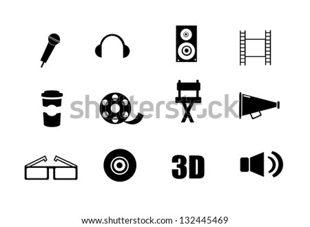 Collection of cinema, movie icons isolated on white background.