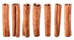 Collection of cinnamon sticks isolated on white background