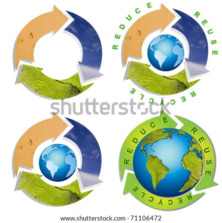 Collection of Clean environment - conceptual recycling symbol