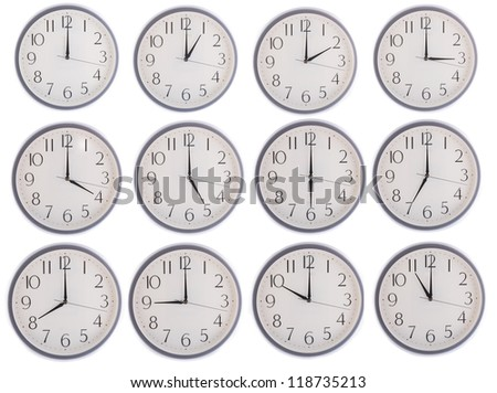 collection of clock from 12 to 11 isolated in white background