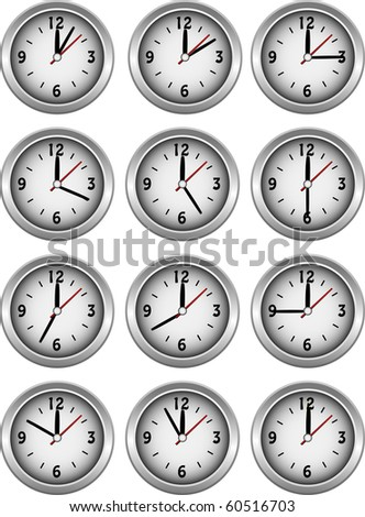 Collection of clocks showing each 5 minutes of the hour illustration
