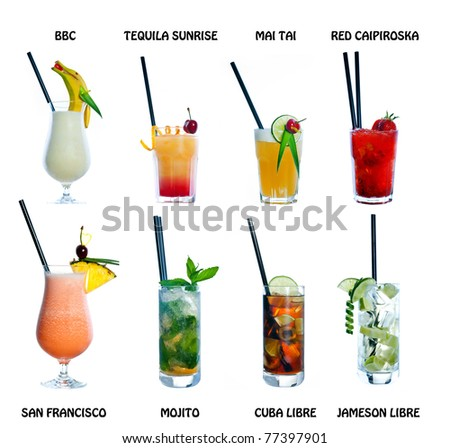 collection of cocktail drink in decorated glasses