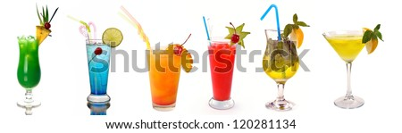 collection of cocktails on a white background