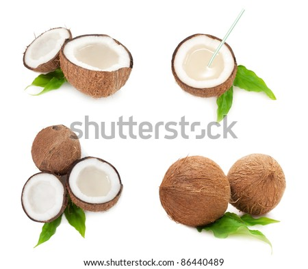 collection of coconuts full of milk isolated on white background