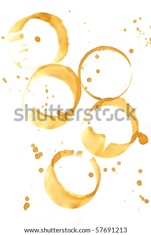 Collection of coffee splashes and stains isolated on white background.
