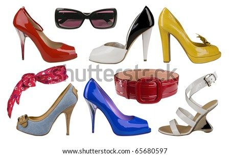 collection of color shoes